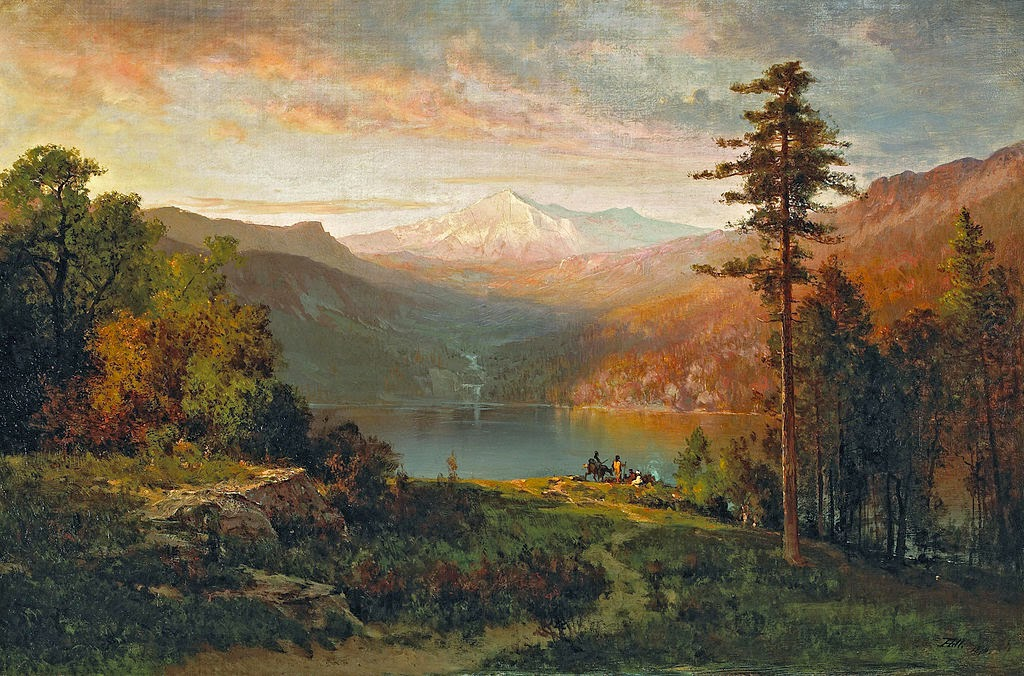 Thomas Hill - Indian by a lake in a majestic California landscape