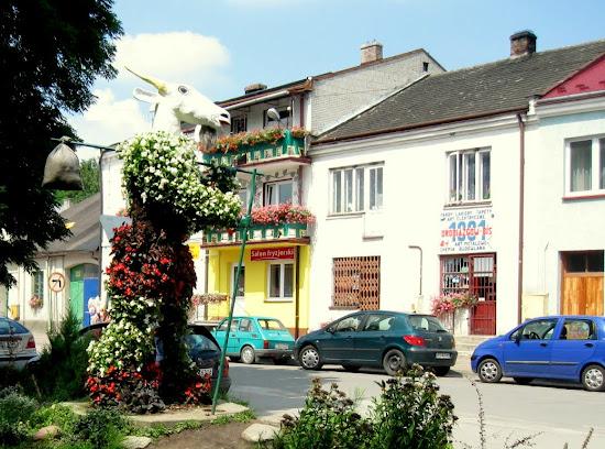 centrum Pacanowa - pomnik Koziołka Matołka z kwiatów