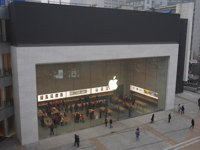 Paradise Walk Apple Store in Chongqing seen from above