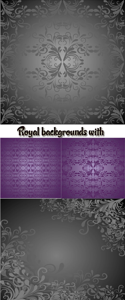 Stock: Royal backgrounds with an ornament and monograms