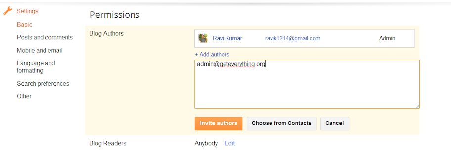 How to invite authors in blogger