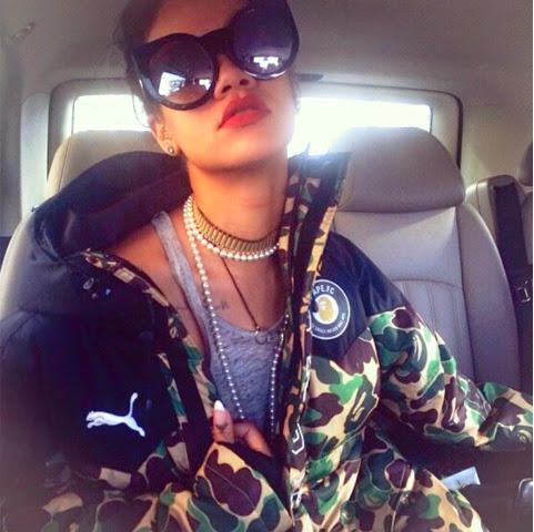 Rihanna in A Bathing Ape x PUMA BAPE FC Collection