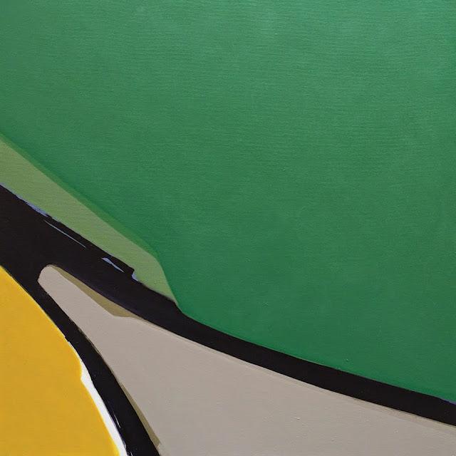 Paisaje distorsionado en verde,pintura de Santiago Cervera