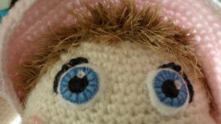 close up of Amigurumi rabbit eyes