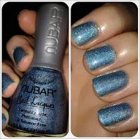Nubar holographic blue nail polish varnish