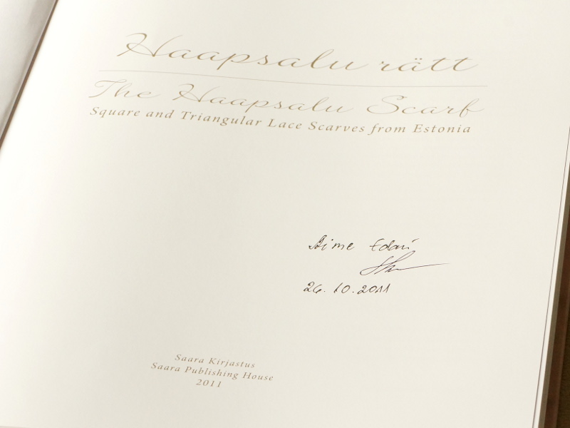 The Haapsalu Scarf signed book