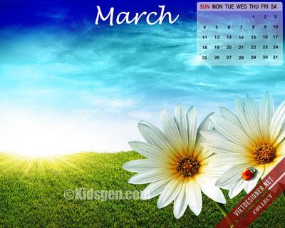 Bộ hình nền kèm lịch tháng 3/2012 với đầy đủ mọi chủ đề