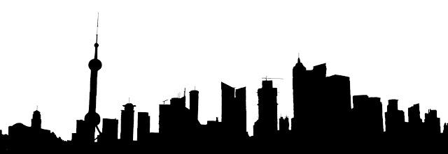 shanghai buildings silhouette