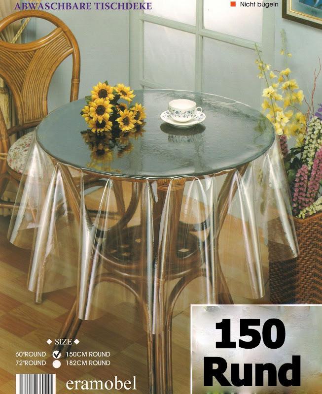 182cm rund schutzfolie tischschutz tischdecke glasklar ebay. Black Bedroom Furniture Sets. Home Design Ideas