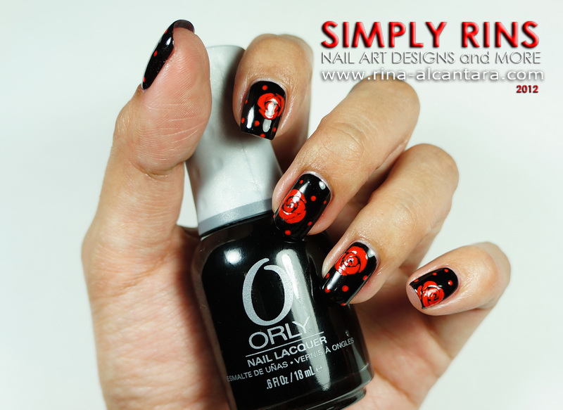 Red Roses on Black Nail Art Design