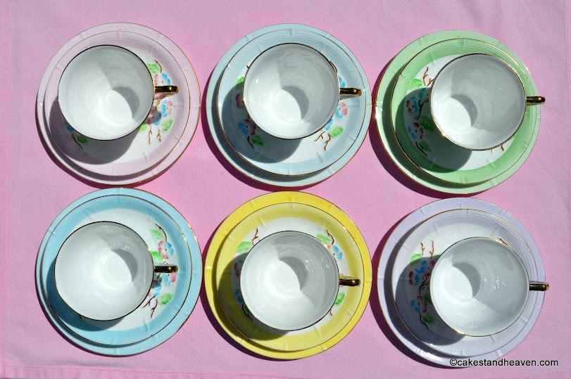 Thomas Poole Harlequin teacups, saucers, plates