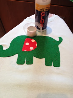 glue, and wonderweb used to stick the elephant pieces together and then onto the tshirt