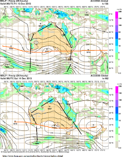 13th _14th dec rain for QLD NT and WA
