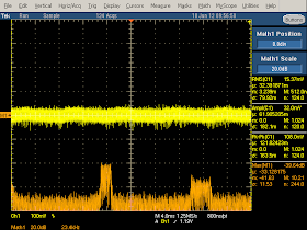 High frequency oscilloscope trace from Samsung cube charger