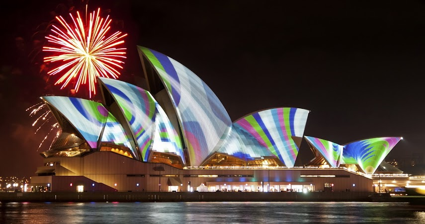 Fireworks over Sydney Harbor and the Opera House