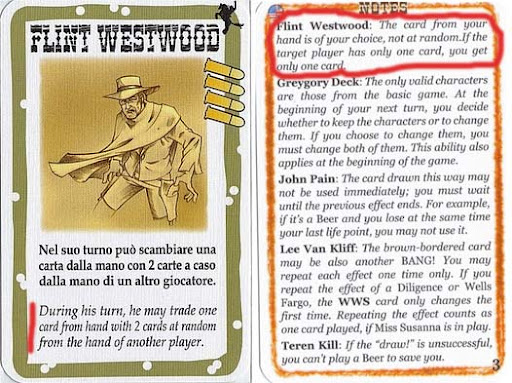 Flint Westwood BANG! Wild West Show Character and Explanation