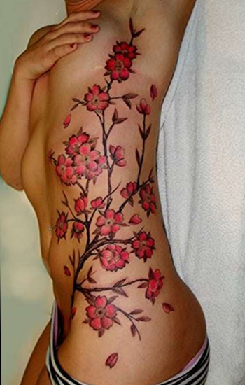 Pink Cherry Tattoo Design on Hip