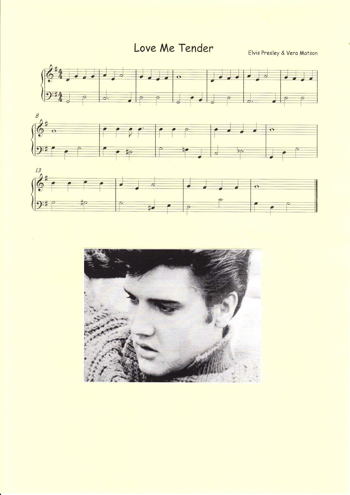 aula de m sica partitura simple de love me tender elvis presley. Black Bedroom Furniture Sets. Home Design Ideas