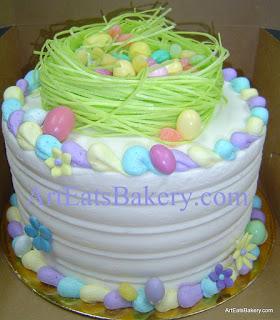 Custom butter cream Easter egg and nest cake