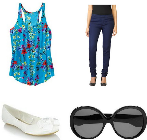 Tank top, skinny jeans, pump shoes and shades.