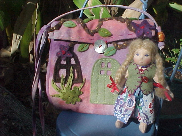 Custom Tiny Waldorf Dolly and Cottage Purse (Doll also available separately)