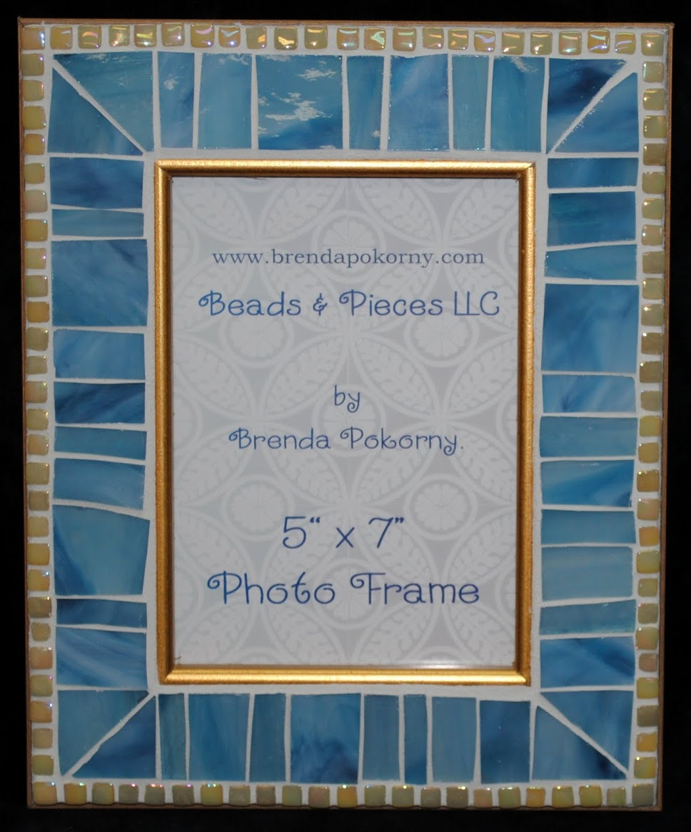 Mosaic Photo Frames in Blue Tones