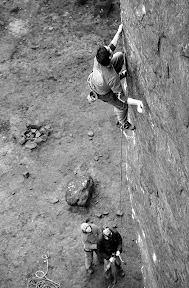 Masters Edge E7 6C - the crux sequence.  Ph nicksmith@climbers.net