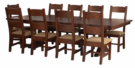 """Geneva Chairs with Rounded Fabric Seats and 110"""" x 48"""" Tuscany Dining Table with Custom Double Base in Rustic Oak"""