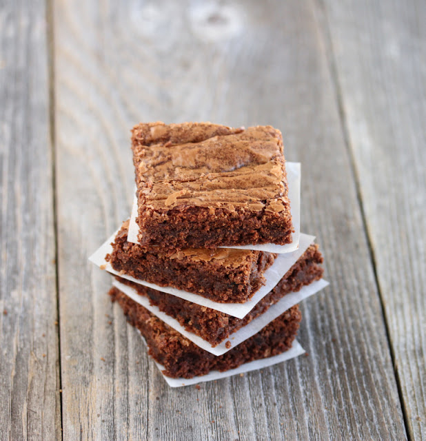 overhead photo of a stack of brownies
