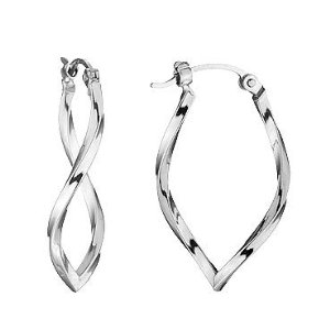 Twisted Hoop Earrings White Gold By Reeds