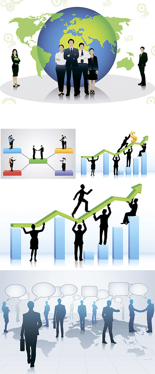 Stock: Business people walking on bar graph