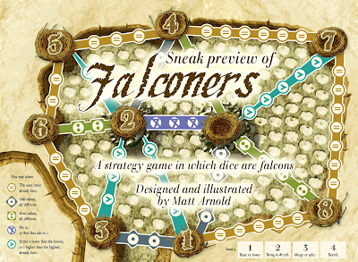 Falconers, a strategy game in which dice are falcons. Developed and illustrated by Matt Arnold.