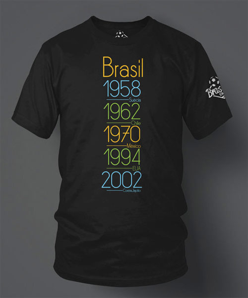 Inspiração Brasil - camiseta com os anos em que o Brasil ganhou a Copa do Mundo