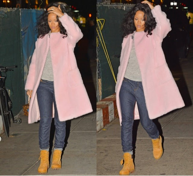 Rihanna in Rochas Boiled Wool Collarless Coat