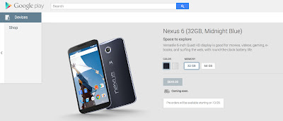 Nexus6 事前予約 10月29日開始(米国)