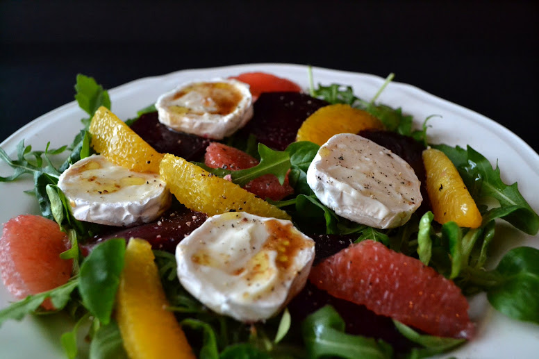 Beetroot orange goats cheese salad