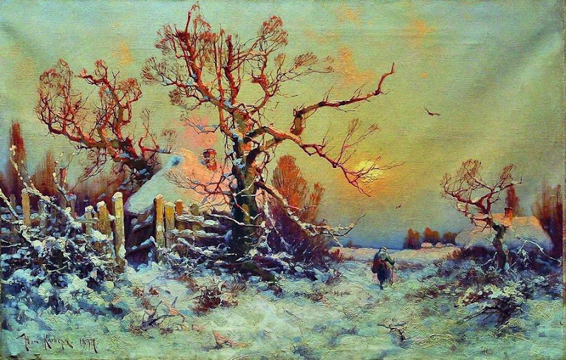 Julius Sergius von Klever - Winter evening. Village. 1897
