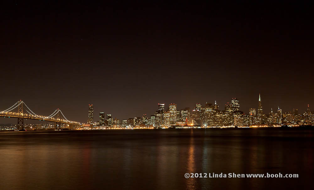 San Francisco skyline at night from Treasure Island