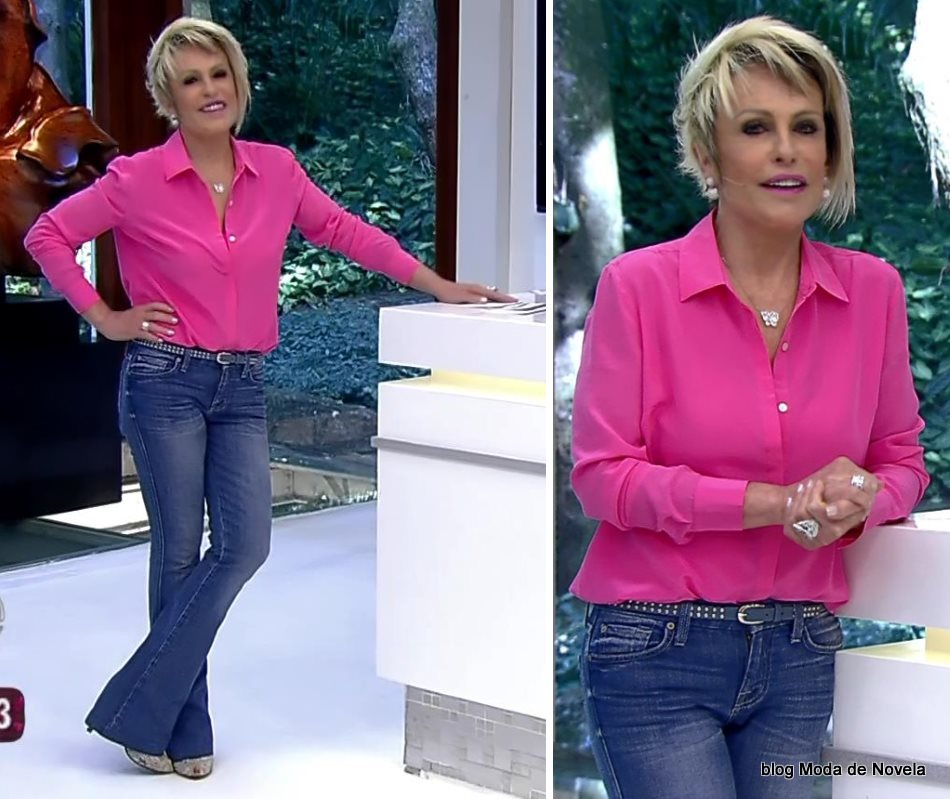 moda do programa Mais Você - look da Ana Maria Braga com camisa pink dia 24 de julho