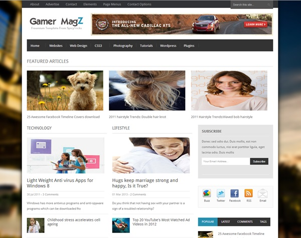 Gamer Magz free blogger template download