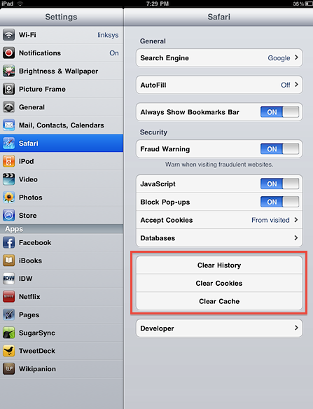 how to clear youtube history on ipad 4
