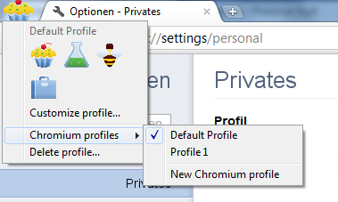 Menü der Chrome Profile