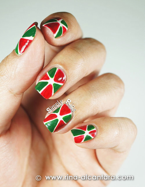 Christmas Pinwheel Nail Art Design - Left Hand
