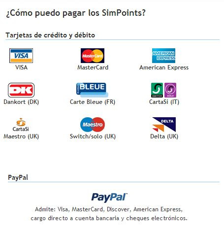 Métodos de pago thesims3.com
