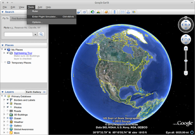 Google Earth running on Xubuntu 12.04 with native look-and-feel.