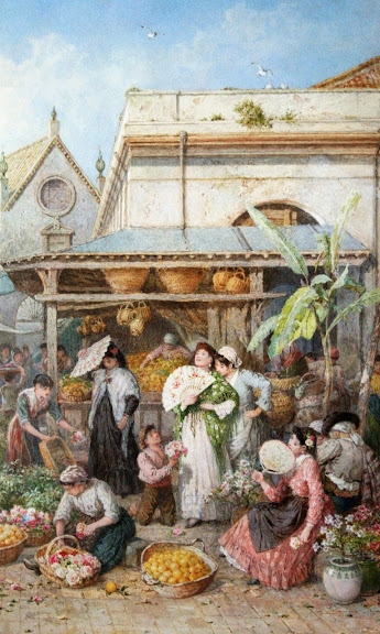 Myles Birket Foster - A Fruit and Vegetable Market, Spain