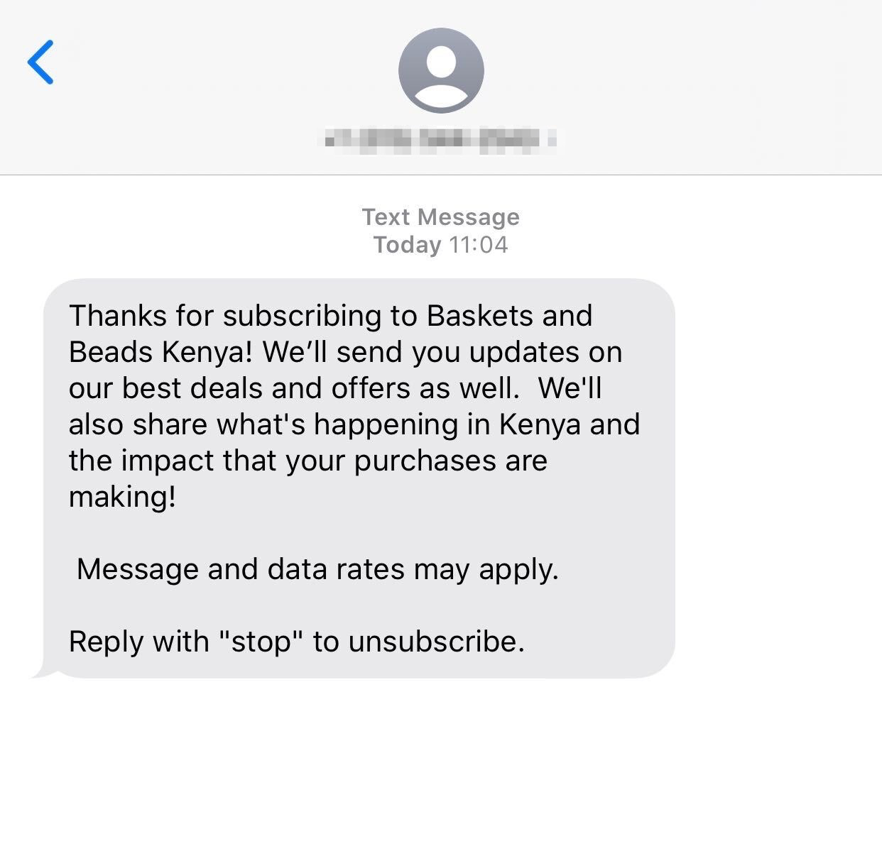 Welcome message from Basket and Beads Kenya