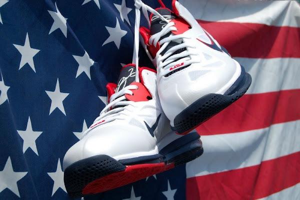Nike LeBron 9 Low 8220USA8221 WhiteObsidianUniversity Red