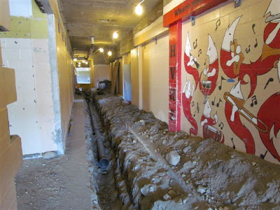 Trench in music area hallway