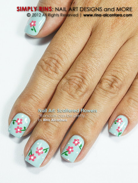 Scattered Flowers Nail Art Design